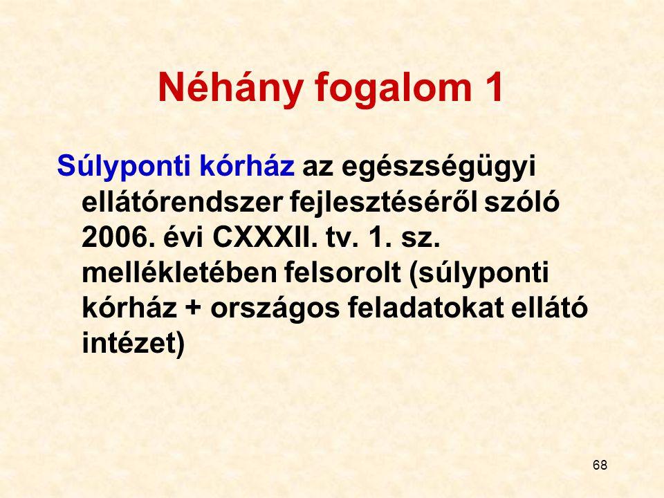 68 Néhány fogalom 1 Súlyponti kórház az egészségügyi ellátórendszer fejlesztéséről szóló 2006. évi CXXXII. tv. 1. sz. mellékletében felsorolt (súlypon