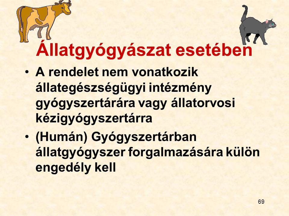 69 Állatgyógyászat esetében A rendelet nem vonatkozik állategészségügyi intézmény gyógyszertárára vagy állatorvosi kézigyógyszertárra (Humán) Gyógysze