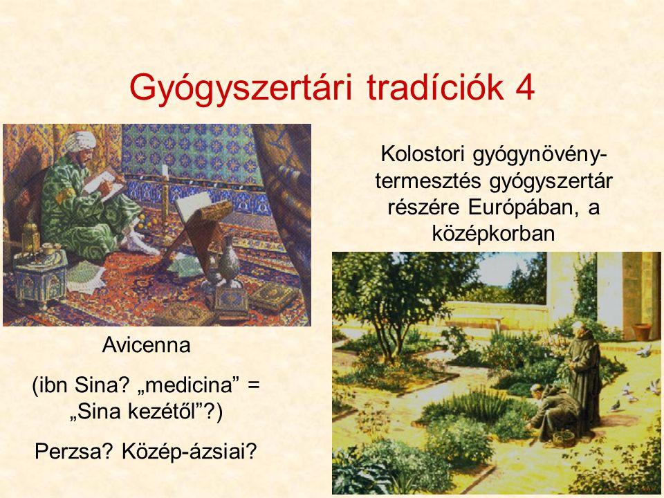 """7 Gyógyszertári tradíciók 4 Avicenna (ibn Sina? """"medicina"""" = """"Sina kezétől""""?) Perzsa? Közép-ázsiai? Kolostori gyógynövény- termesztés gyógyszertár rés"""