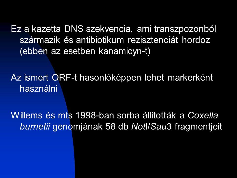 Ez a kazetta DNS szekvencia, ami transzpozonból származik és antibiotikum rezisztenciát hordoz (ebben az esetben kanamicyn-t) Az ismert ORF-t hasonlóképpen lehet markerként használni Willems és mts 1998-ban sorba állították a Coxella burnetii genomjának 58 db NotI/Sau3 fragmentjeit