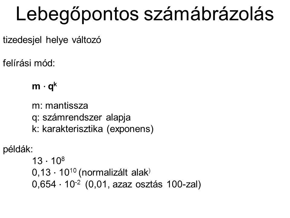 Lebegőpontos számábrázolás tizedesjel helye változó felírási mód: m ⋅ q k m: mantissza q: számrendszer alapja k: karakterisztika (exponens) példák: 13