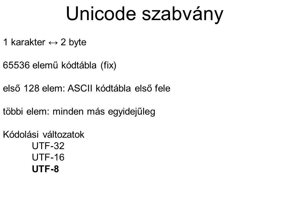 Unicode szabvány 1 karakter ↔ 2 byte 65536 elemű kódtábla (fix) első 128 elem: ASCII kódtábla első fele többi elem: minden más egyidejűleg Kódolási vá
