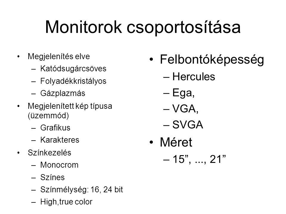 Monitorok csoportosítása Megjelenítés elve –Katódsugárcsöves –Folyadékkristályos –Gázplazmás Megjelenített kép típusa (üzemmód) –Grafikus –Karakteres