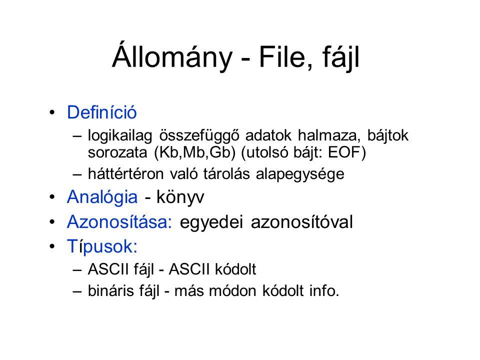Állomány - File, fájl Definíció –logikailag összefüggő adatok halmaza, bájtok sorozata (Kb,Mb,Gb) (utolsó bájt: EOF) –háttértéron való tárolás alapegy
