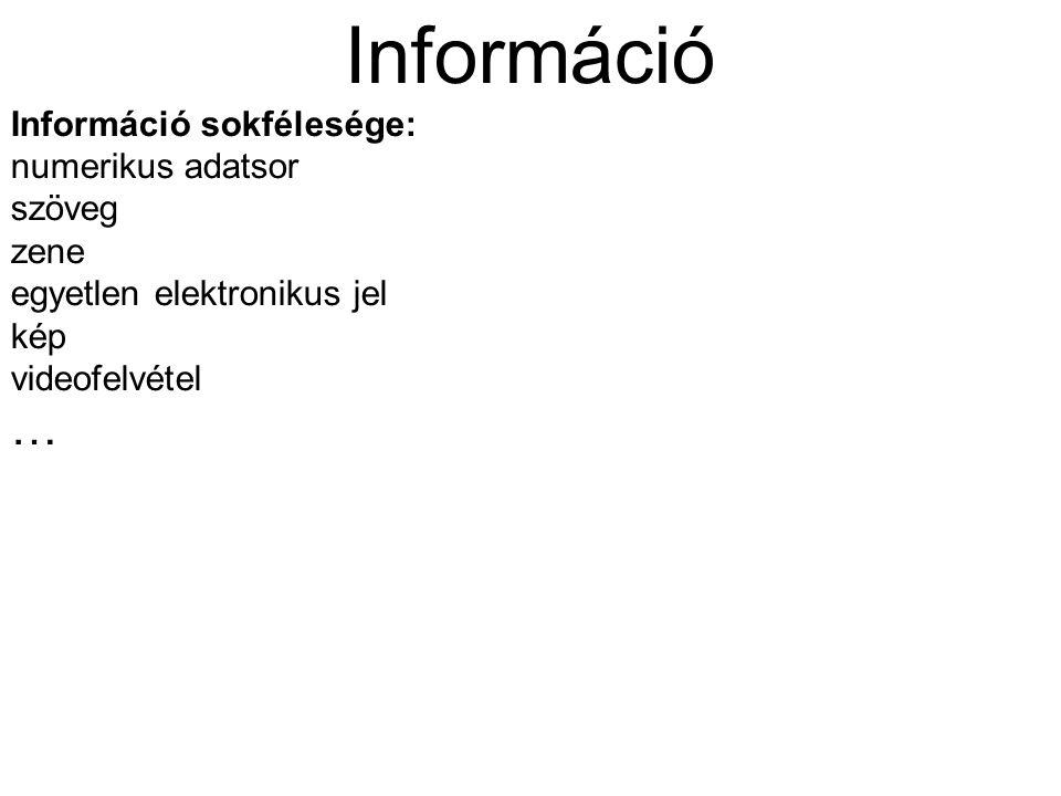 Információ Információ sokfélesége: numerikus adatsor szöveg zene egyetlen elektronikus jel kép videofelvétel …