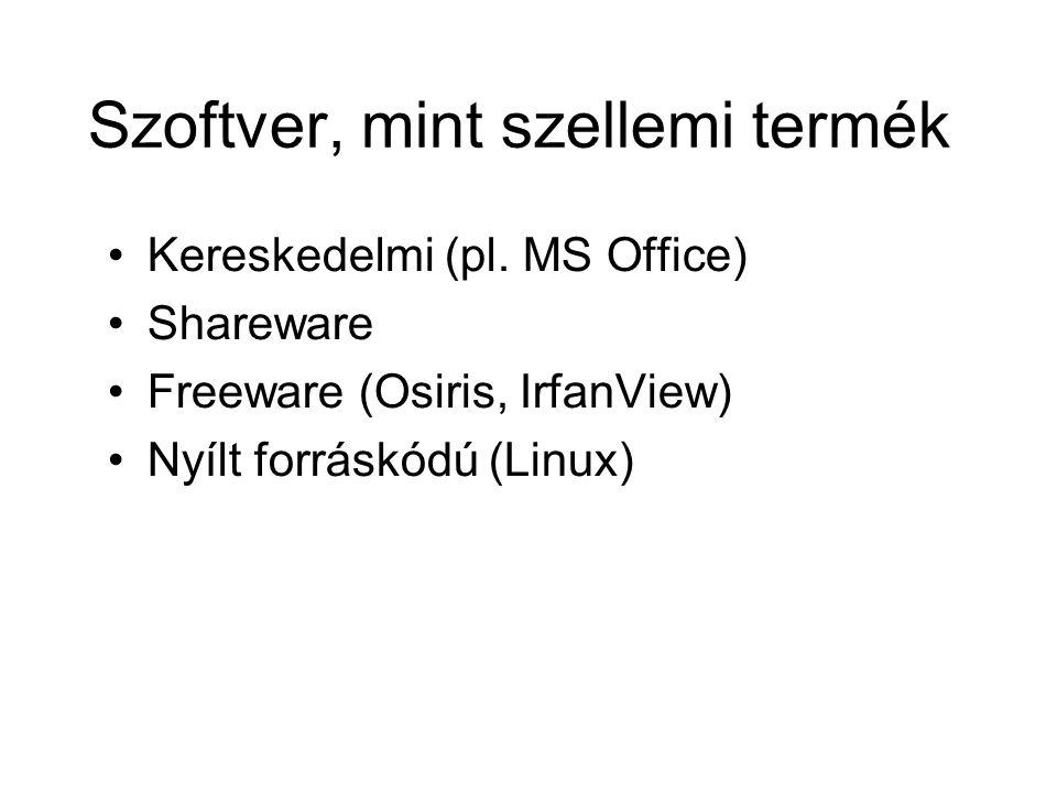 Szoftver, mint szellemi termék Kereskedelmi (pl. MS Office) Shareware Freeware (Osiris, IrfanView) Nyílt forráskódú (Linux)