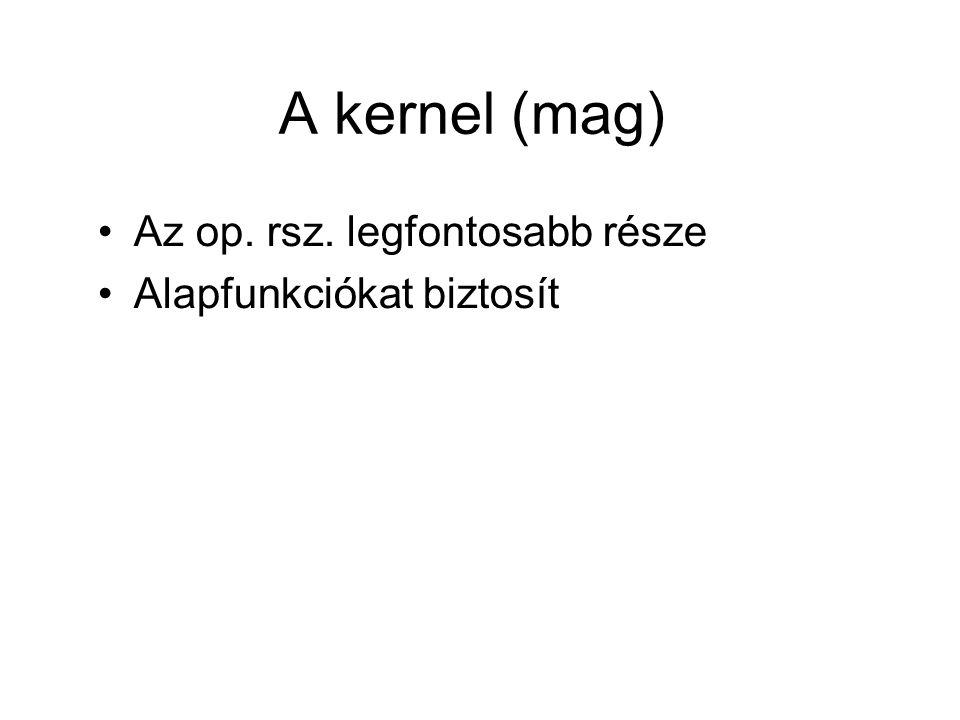 A kernel (mag) Az op. rsz. legfontosabb része Alapfunkciókat biztosít