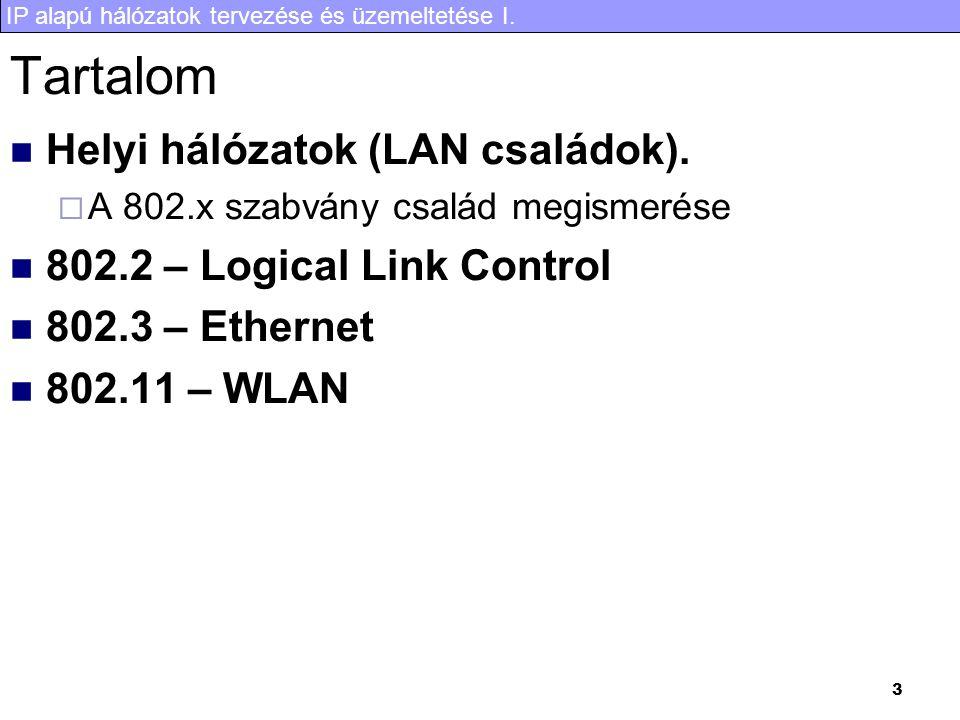 IP alapú hálózatok tervezése és üzemeltetése I. 3 Tartalom Helyi hálózatok (LAN családok).  A 802.x szabvány család megismerése 802.2 – Logical Link