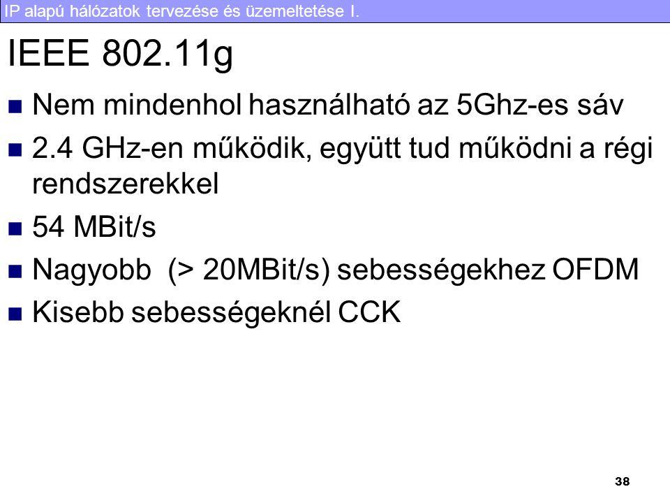 IP alapú hálózatok tervezése és üzemeltetése I. 38 IEEE 802.11g Nem mindenhol használható az 5Ghz-es sáv 2.4 GHz-en működik, együtt tud működni a régi