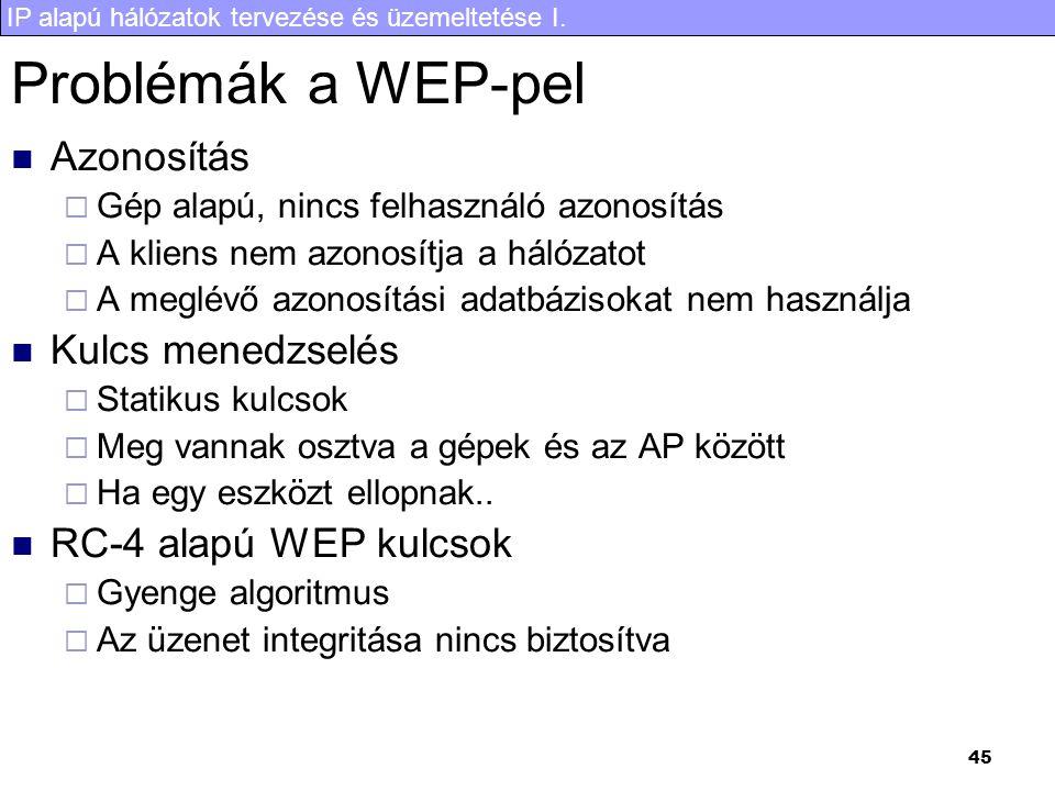 IP alapú hálózatok tervezése és üzemeltetése I. 45 Problémák a WEP-pel Azonosítás  Gép alapú, nincs felhasználó azonosítás  A kliens nem azonosítja