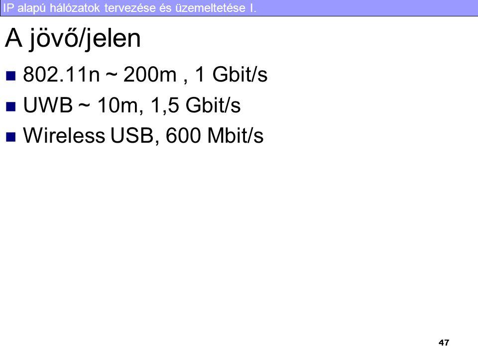 IP alapú hálózatok tervezése és üzemeltetése I. 47 A jövő/jelen 802.11n ~ 200m, 1 Gbit/s UWB ~ 10m, 1,5 Gbit/s Wireless USB, 600 Mbit/s