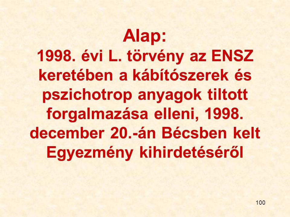 100 Alap: 1998. évi L. törvény az ENSZ keretében a kábítószerek és pszichotrop anyagok tiltott forgalmazása elleni, 1998. december 20.-án Bécsben kelt