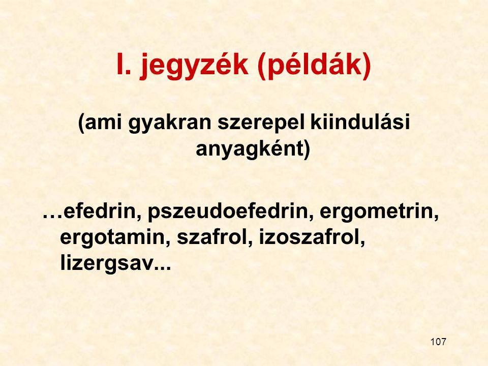 107 I. jegyzék (példák) (ami gyakran szerepel kiindulási anyagként) …efedrin, pszeudoefedrin, ergometrin, ergotamin, szafrol, izoszafrol, lizergsav...