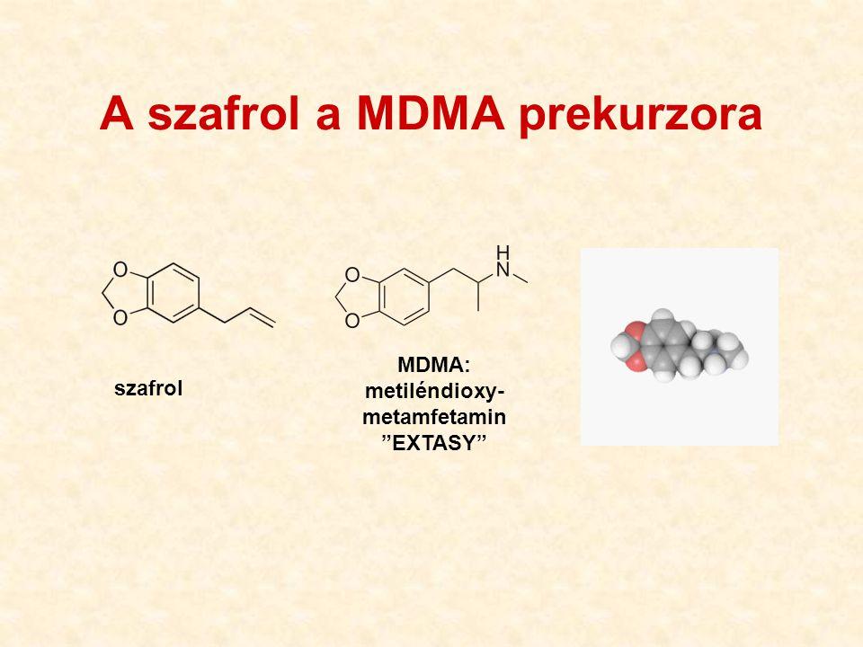 "szafrol MDMA: metiléndioxy- metamfetamin ""EXTASY"" A szafrol a MDMA prekurzora"