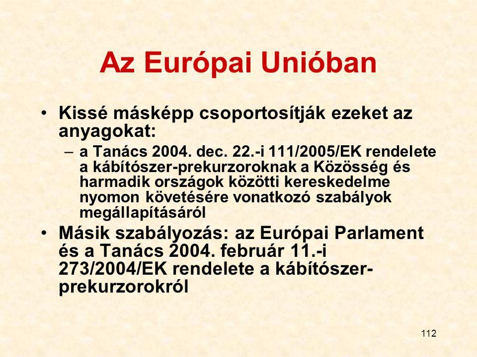 112 Az Európai Unióban Kissé másképp csoportosítják ezeket az anyagokat: –a Tanács 2004. dec. 22.-i 111/2005/EK rendelete a kábítószer-prekurzoroknak