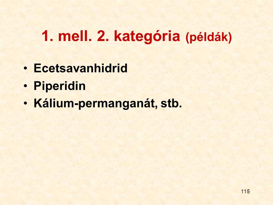 115 1. mell. 2. kategória (példák) Ecetsavanhidrid Piperidin Kálium-permanganát, stb.