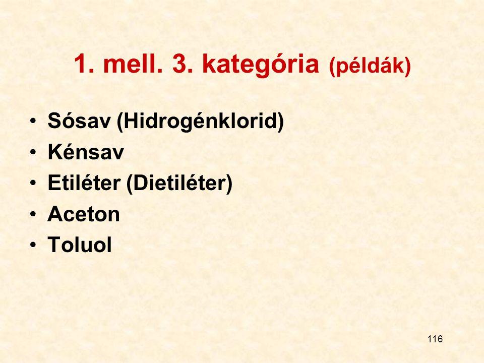 116 1. mell. 3. kategória (példák) Sósav (Hidrogénklorid) Kénsav Etiléter (Dietiléter) Aceton Toluol