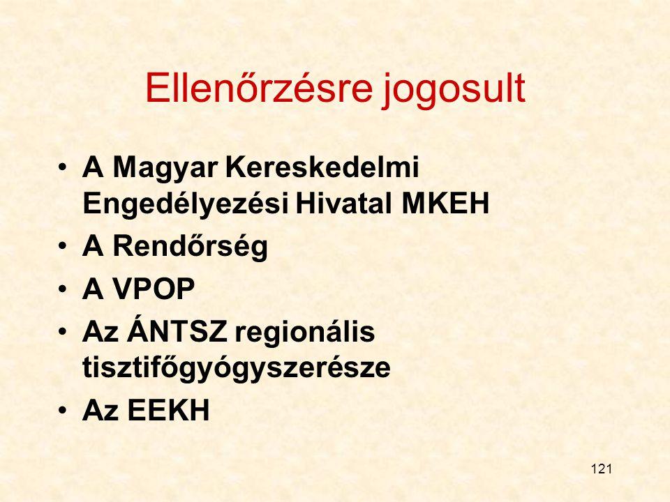 121 Ellenőrzésre jogosult A Magyar Kereskedelmi Engedélyezési Hivatal MKEH A Rendőrség A VPOP Az ÁNTSZ regionális tisztifőgyógyszerésze Az EEKH