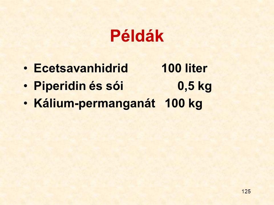 125 Példák Ecetsavanhidrid 100 liter Piperidin és sói 0,5 kg Kálium-permanganát 100 kg