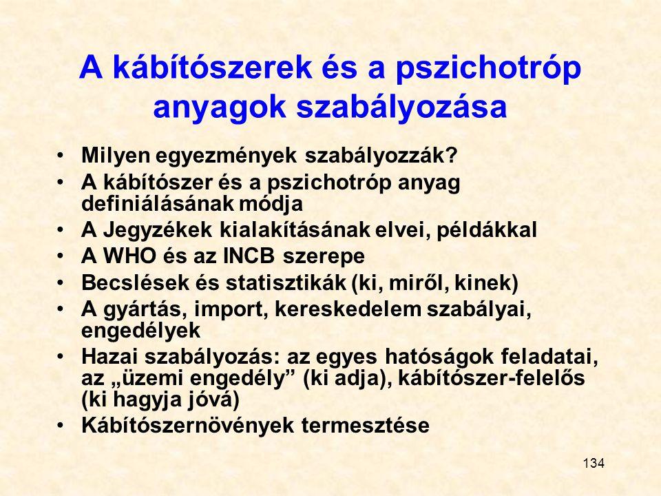 134 A kábítószerek és a pszichotróp anyagok szabályozása Milyen egyezmények szabályozzák? A kábítószer és a pszichotróp anyag definiálásának módja A J