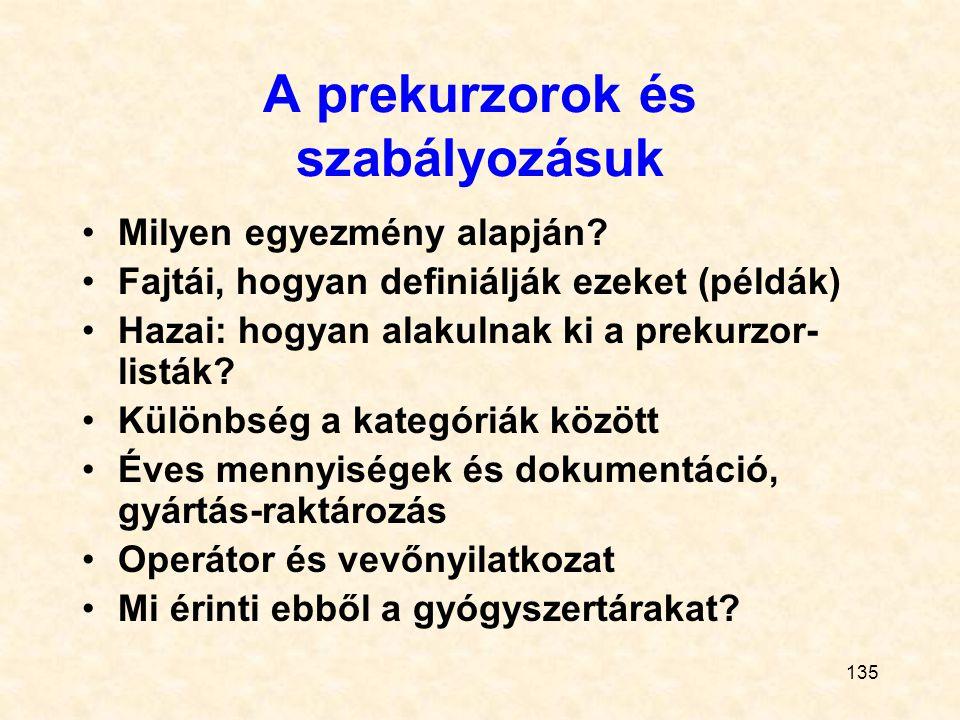 135 A prekurzorok és szabályozásuk Milyen egyezmény alapján? Fajtái, hogyan definiálják ezeket (példák) Hazai: hogyan alakulnak ki a prekurzor- listák