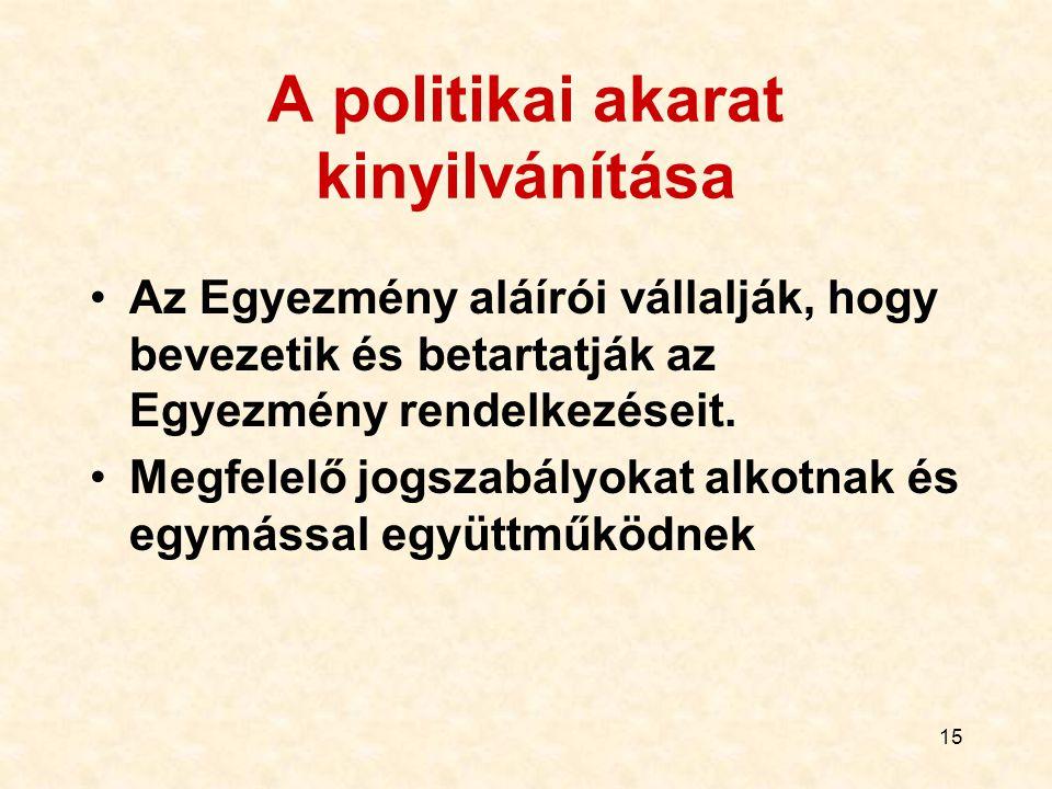 15 A politikai akarat kinyilvánítása Az Egyezmény aláírói vállalják, hogy bevezetik és betartatják az Egyezmény rendelkezéseit. Megfelelő jogszabályok
