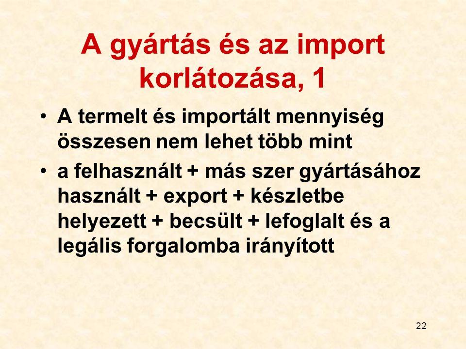 22 A gyártás és az import korlátozása, 1 A termelt és importált mennyiség összesen nem lehet több mint a felhasznált + más szer gyártásához használt +