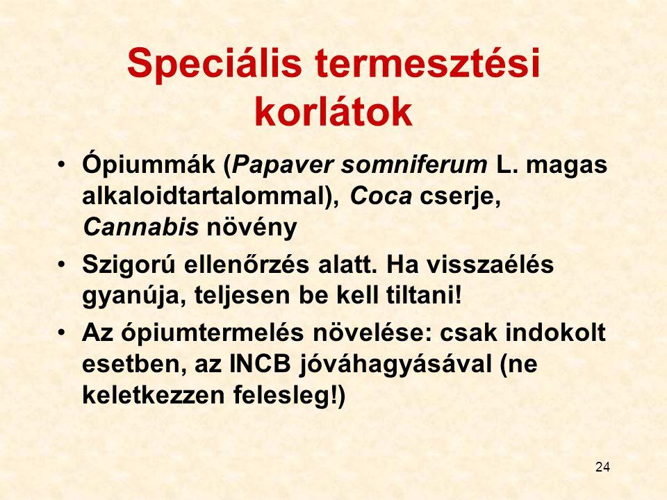 24 Speciális termesztési korlátok Ópiummák (Papaver somniferum L. magas alkaloidtartalommal), Coca cserje, Cannabis növény Szigorú ellenőrzés alatt. H