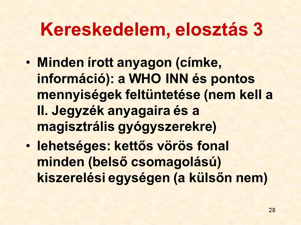 28 Kereskedelem, elosztás 3 Minden írott anyagon (címke, információ): a WHO INN és pontos mennyiségek feltüntetése (nem kell a II. Jegyzék anyagaira é