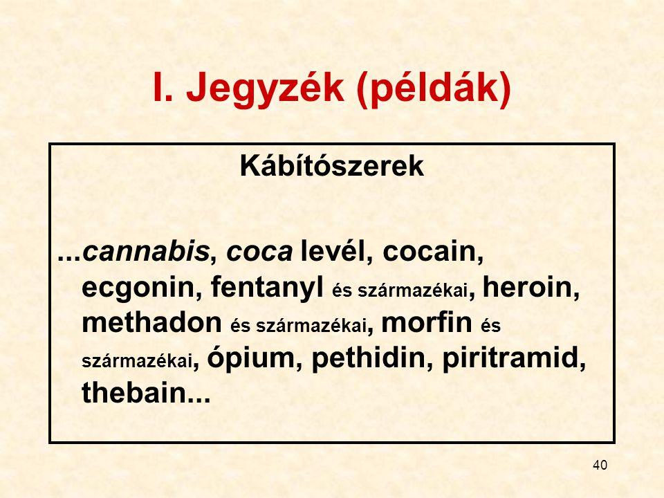 40 I. Jegyzék (példák) Kábítószerek...cannabis, coca levél, cocain, ecgonin, fentanyl és származékai, heroin, methadon és származékai, morfin és szárm