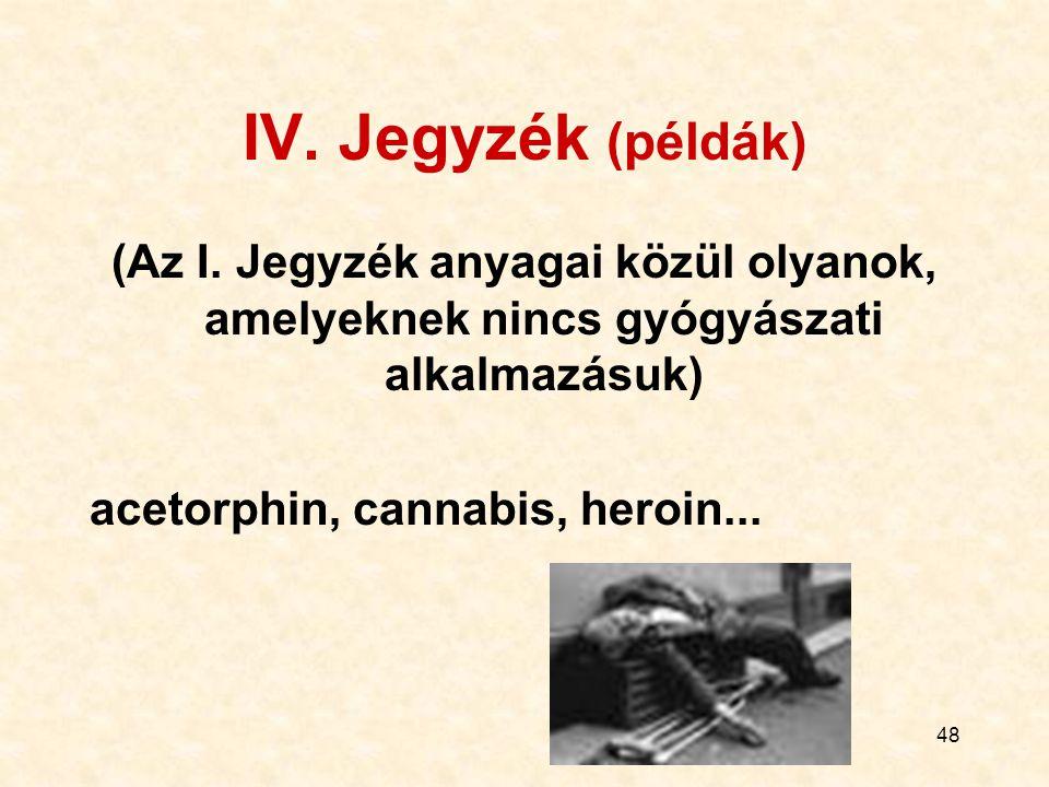 48 IV. Jegyzék (példák) (Az I. Jegyzék anyagai közül olyanok, amelyeknek nincs gyógyászati alkalmazásuk) acetorphin, cannabis, heroin...