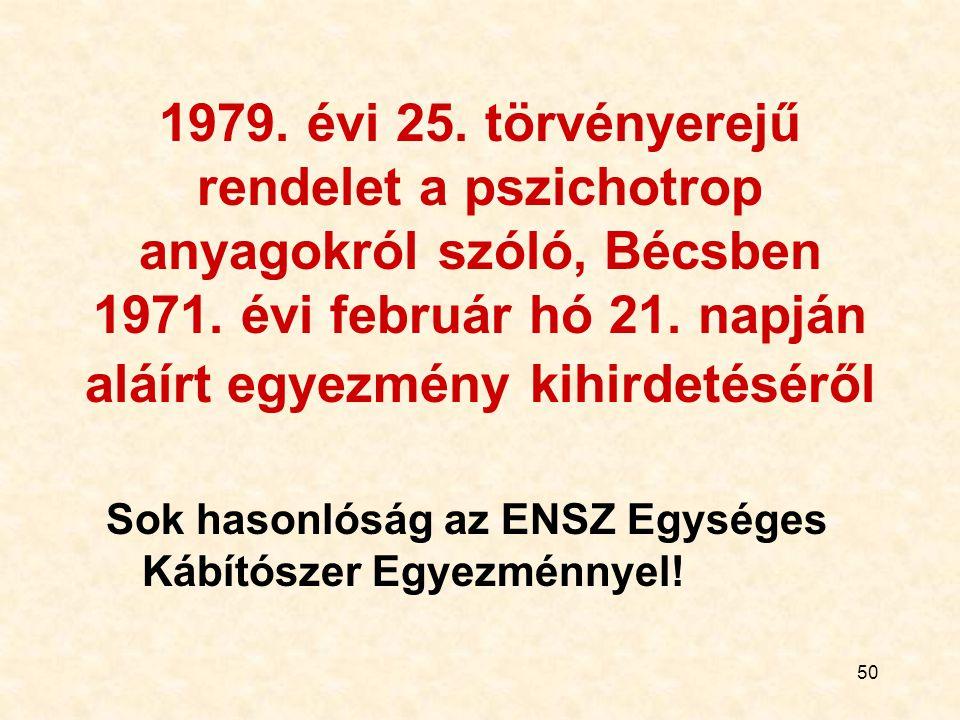 50 1979. évi 25. törvényerejű rendelet a pszichotrop anyagokról szóló, Bécsben 1971. évi február hó 21. napján aláírt egyezmény kihirdetéséről Sok has