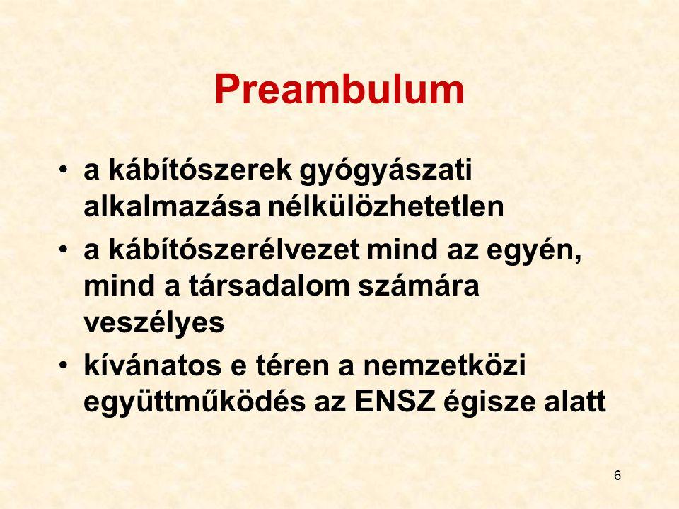 6 Preambulum a kábítószerek gyógyászati alkalmazása nélkülözhetetlen a kábítószerélvezet mind az egyén, mind a társadalom számára veszélyes kívánatos