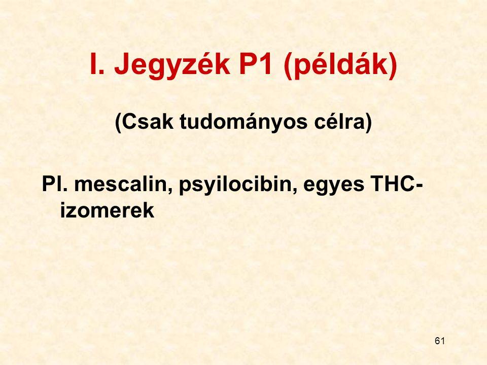 61 I. Jegyzék P1 (példák) (Csak tudományos célra) Pl. mescalin, psyilocibin, egyes THC- izomerek