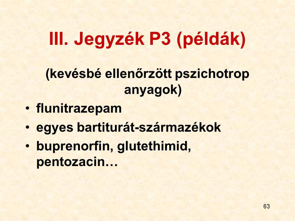63 III. Jegyzék P3 (példák) (kevésbé ellenőrzött pszichotrop anyagok) flunitrazepam egyes bartiturát-származékok buprenorfin, glutethimid, pentozacin…
