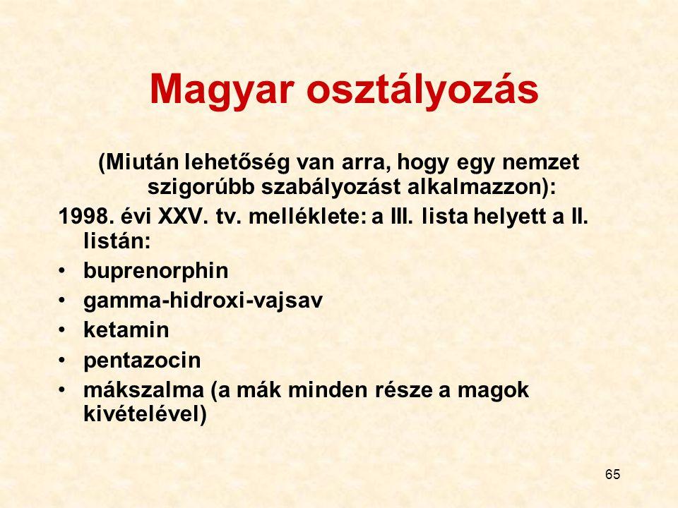 65 Magyar osztályozás (Miután lehetőség van arra, hogy egy nemzet szigorúbb szabályozást alkalmazzon): 1998. évi XXV. tv. melléklete: a III. lista hel