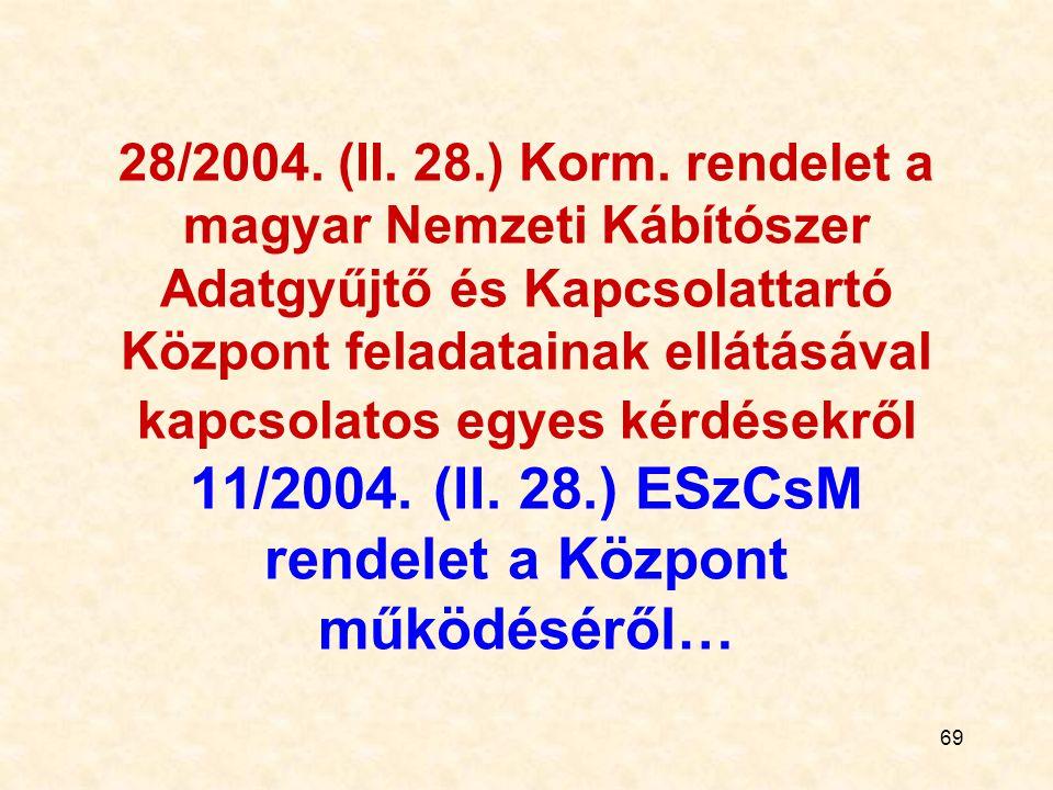69 28/2004. (II. 28.) Korm. rendelet a magyar Nemzeti Kábítószer Adatgyűjtő és Kapcsolattartó Központ feladatainak ellátásával kapcsolatos egyes kérdé