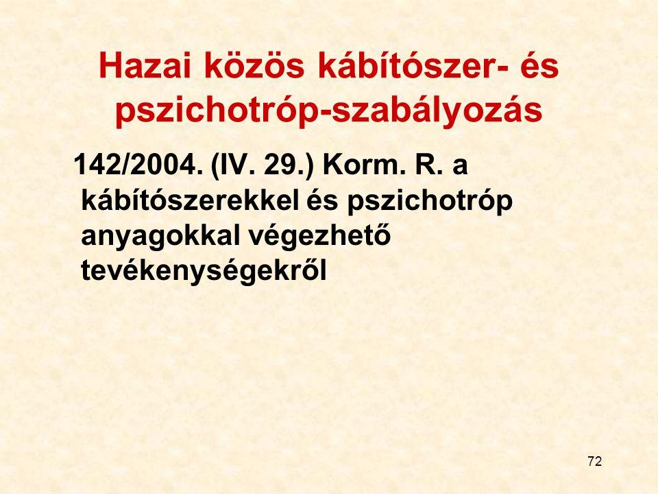 72 Hazai közös kábítószer- és pszichotróp-szabályozás 142/2004. (IV. 29.) Korm. R. a kábítószerekkel és pszichotróp anyagokkal végezhető tevékenységek