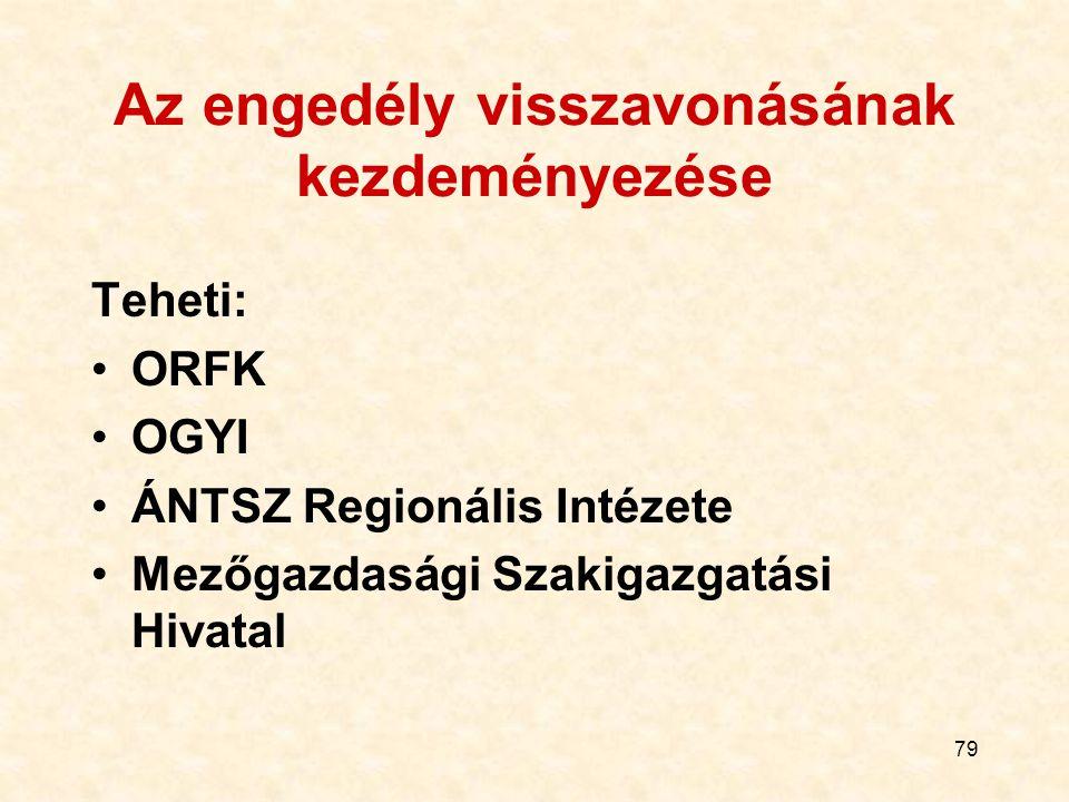 79 Az engedély visszavonásának kezdeményezése Teheti: ORFK OGYI ÁNTSZ Regionális Intézete Mezőgazdasági Szakigazgatási Hivatal