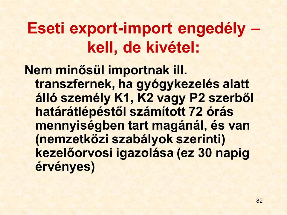 82 Eseti export-import engedély – kell, de kivétel: Nem minősül importnak ill. transzfernek, ha gyógykezelés alatt álló személy K1, K2 vagy P2 szerből