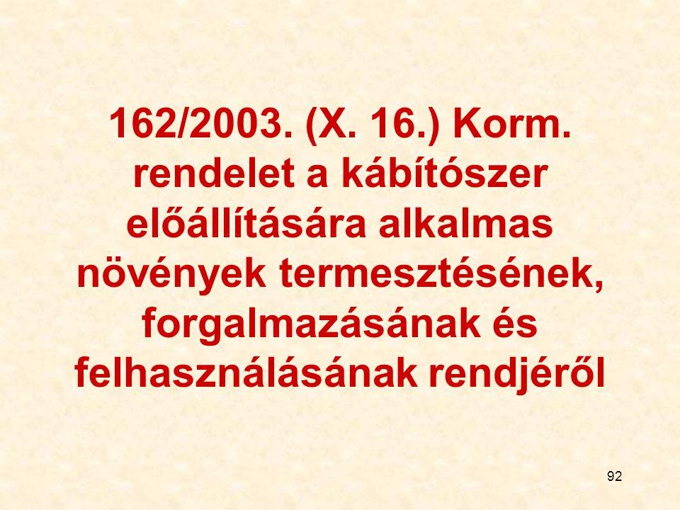 92 162/2003. (X. 16.) Korm. rendelet a kábítószer előállítására alkalmas növények termesztésének, forgalmazásának és felhasználásának rendjéről