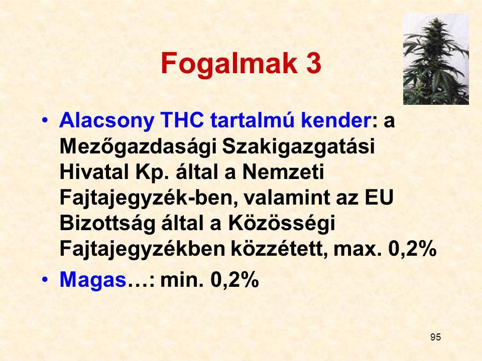 95 Fogalmak 3 Alacsony THC tartalmú kender: a Mezőgazdasági Szakigazgatási Hivatal Kp. által a Nemzeti Fajtajegyzék-ben, valamint az EU Bizottság álta