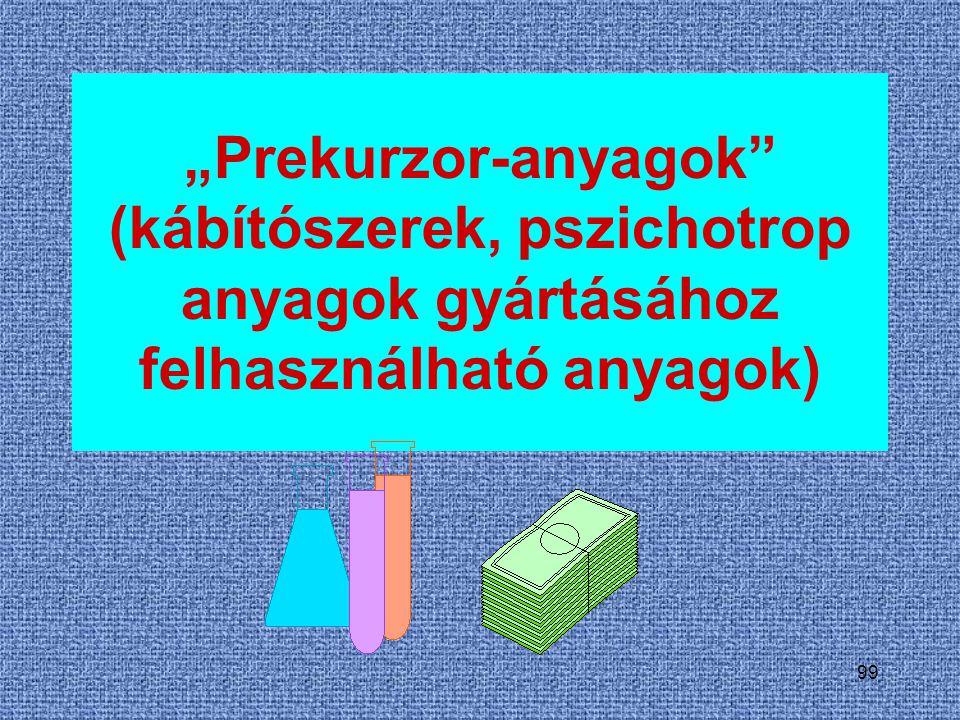 """99 """"Prekurzor-anyagok"""" (kábítószerek, pszichotrop anyagok gyártásához felhasználható anyagok)"""