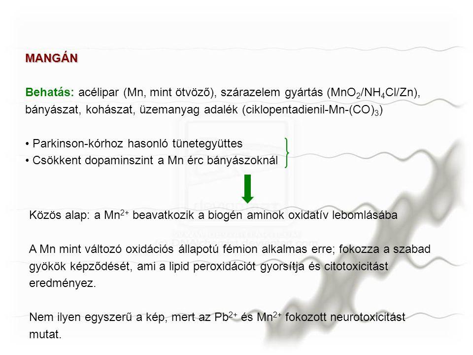 MANGÁN Behatás: acélipar (Mn, mint ötvöző), szárazelem gyártás (MnO 2 /NH 4 Cl/Zn), bányászat, kohászat, üzemanyag adalék (ciklopentadienil-Mn-(CO) 3