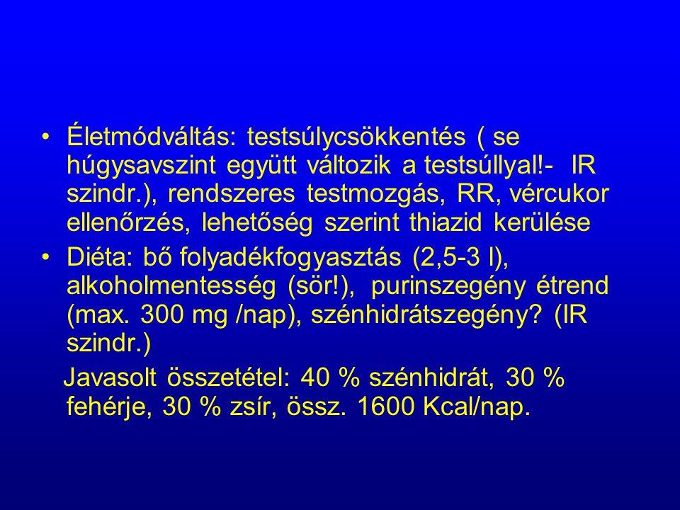 Életmódváltás: testsúlycsökkentés ( se húgysavszint együtt változik a testsúllyal!- IR szindr.), rendszeres testmozgás, RR, vércukor ellenőrzés, lehet
