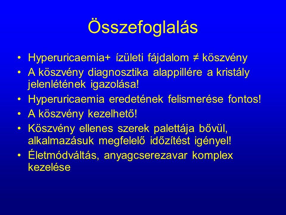 Összefoglalás Hyperuricaemia+ ízületi fájdalom ≠ köszvény A köszvény diagnosztika alappillére a kristály jelenlétének igazolása! Hyperuricaemia eredet