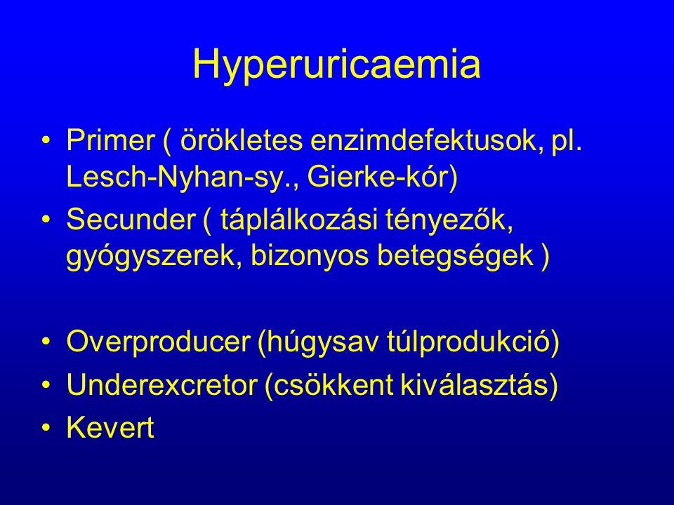 Hyperuricaemia Primer ( örökletes enzimdefektusok, pl. Lesch-Nyhan-sy., Gierke-kór) Secunder ( táplálkozási tényezők, gyógyszerek, bizonyos betegségek