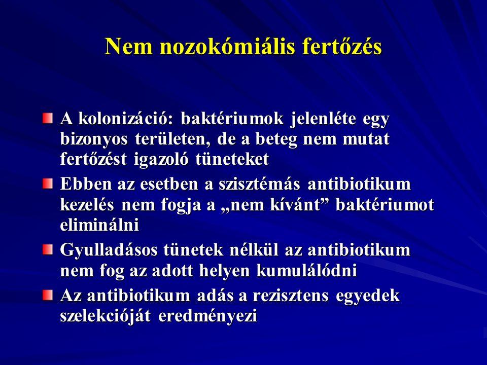 Nem nozokómiális fertőzés A kolonizáció: baktériumok jelenléte egy bizonyos területen, de a beteg nem mutat fertőzést igazoló tüneteket Ebben az esetb
