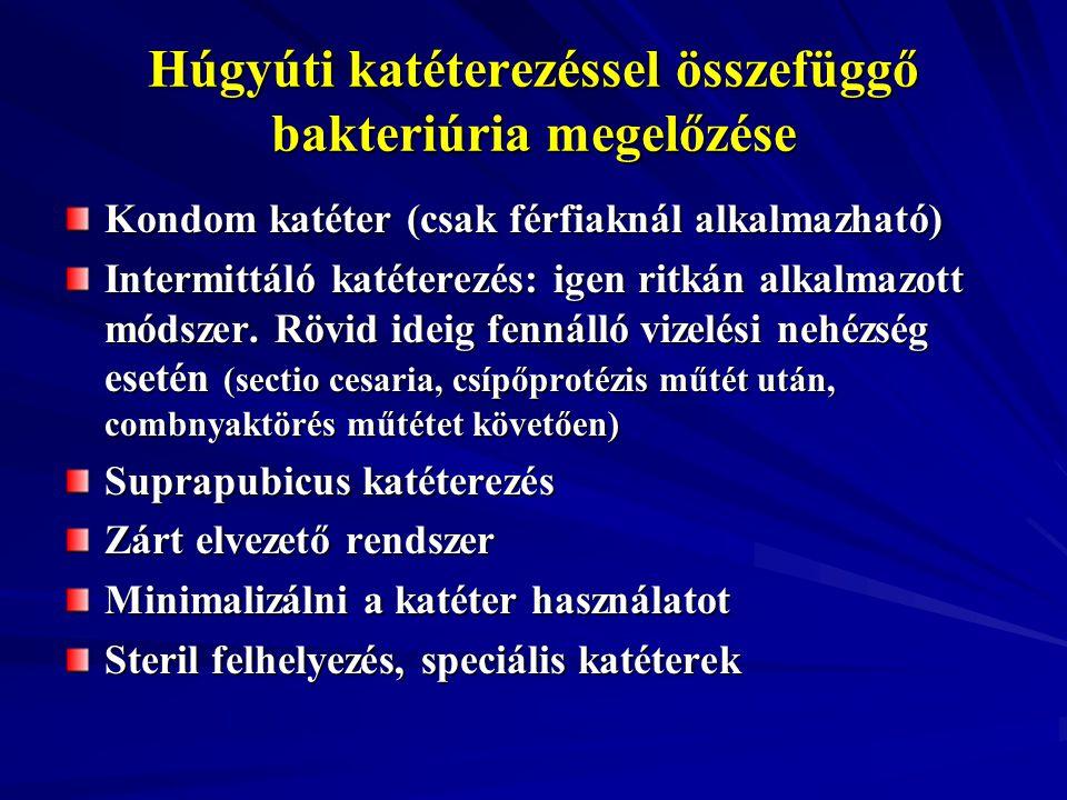 Húgyúti katéterezéssel összefüggő bakteriúria megelőzése Kondom katéter (csak férfiaknál alkalmazható) Intermittáló katéterezés: igen ritkán alkalmazo