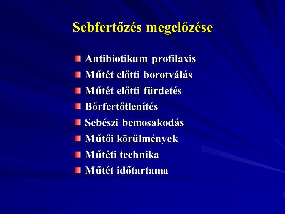 Sebfertőzés megelőzése Antibiotikum profilaxis Műtét előtti borotválás Műtét előtti fürdetés Bőrfertőtlenítés Sebészi bemosakodás Műtői körülmények Mű